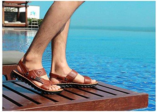 PBXP Mittleren Alters Gesunde Outdoor Dual-Gebrauch Leder Hausschuhe Sandalen Open Toe Beach Breathable Casual Sandalen 38-44 Dark Brown