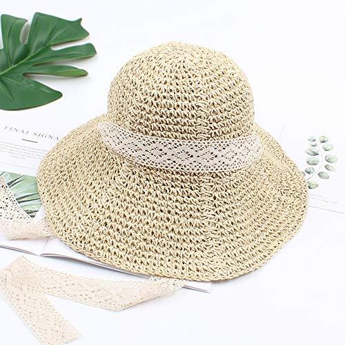 Xuyaowzr Frauen-Hut-Sommer-Kleiner frischer Spitze-Band-Strohhut-Faltbarer Wilder Normallackstudenten-Hut,Beige (Kleine Spitze Hüte)