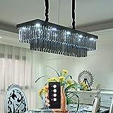 Junhong Lighting LED3 Helligkeit rechteckigen Rauchgrau Kristall Kronleuchter Moderne minimalistische LED Restaurant Lampe Kronleuchter Atmosphäre kreative Hause Esszimmer Lampe (L100cm x W30cm x H80cm)