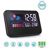 T-Bog Wecker Uhr Multifunktionaler Digitalwecker Anzeige von Uhrzeit Temperatur Datum - Alarm Clock mit USB Kabel und Batterien (Schwarz)