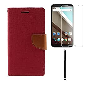 Relax&Shop Combo of Flip Cover For Micromax Canvas SPARK - (Pink Flip + Tempered + Stylus)