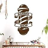 lyclff Homme Barber Shop Autocollant Nom Chop Pain Decal Coupe De Cheveux Rasoirs Posters en Vinyle Mur Art Stickers Décor Windows Décoration Murale Brun 34 * 58cm...