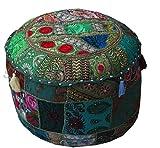 Pouf stile poltrona ricamato, patchwork decorativo tradizionale indiano fatto a mano (senza imbottitura) 45cmx33cm Green