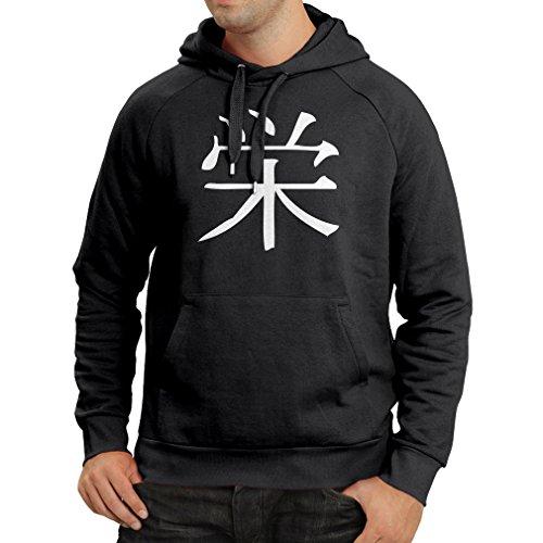 lepni.me Felpa con Cappuccio Logogramma della Prosperità - Simbolo Kanji Cinese/Giapponese Nero Bianco