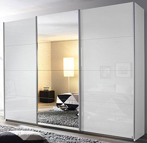 Rauch Schwebetürenschrank 3-türig Hochglanz weiß/Spiegel 271 x 229 x 62 cm Griffe chrom-glänzend