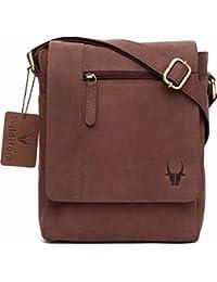 WildHorn Leather 21.59 cms Brown Messenger Bag (MB205 Brown Hunter)