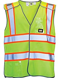 Caterpillar Mens Neon Workwear Hi Vis Vest Waistcoat Yellow