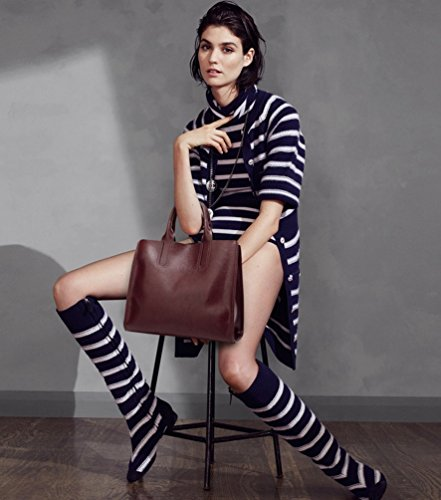 YiLianDa Damen Vintage Stil PU Leder Umhängetasche Elegant große Schultertasche als Bild(6)