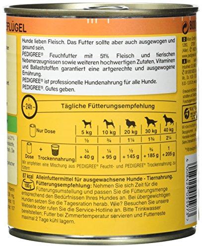 Pedigree Adult Hundefutter 3 Sorten Geflügel, 12 Dosen (12 x 800 g) - 5