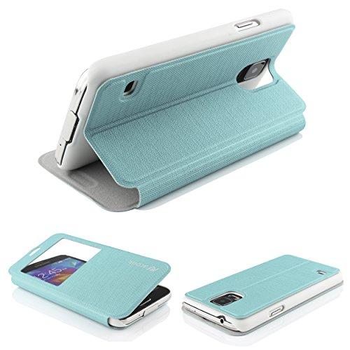 Urcover® View Hülle kompatibel mit Samsung Galaxy S5 Mini, Wallet mit [ Standfunktion ] Schutzhülle Case Cover Etui Ständer Aufsteller Handyhülle Türkis (Mini Entsperrt S5)