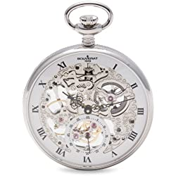 Bouverat 1919 Polished Case Open Face Mechanical Roman Pocket Watch with White Dial BV824201