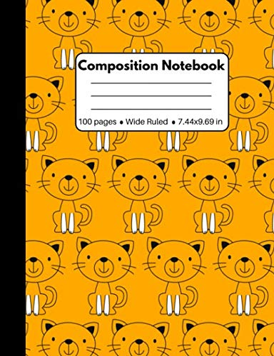 Composition Notebook: Cat Gifts for Cat Lovers: Cute Cat Composition Notebook Wide Ruled: 100 Pages Orange Book for Kids Teens School Students And Teachers -