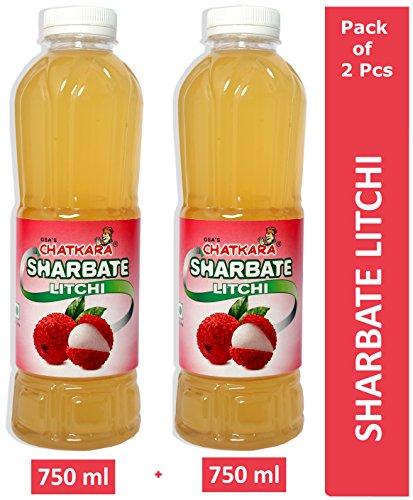 GSA's Chatkara® Litchi (750ml+750ml) Syrup Squash Sharbat for Drink/Milkshake/Falooda/Ice-Cream/Lassi/Liquids/Juice/Soda/Cocktails/Milk Powder. Pack of 2 Bottles.