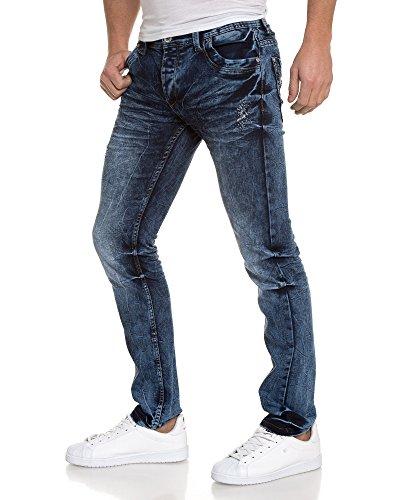 BLZ jeans - Jean bleu foncé délavé usé Bleu