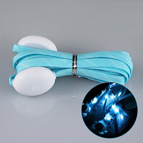 Bluelover 1 Pair LED 7Th Generation Flash Luminous Fashionable Nylon Shoe Laces for Party Skating Running Disco Light Up Glow Nylon Strap - Blau