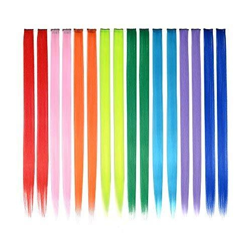 FESHFEN 16 pcs, 8 farben direkt haarsträhnen zum einklipsen haarverlängerungen haar stücke für kinder grils 20 zentimeter lange haare, bunte party - highlights diy - haar - accessoires erweiterungen