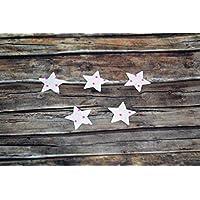 Applikation Sterne aus Bio-Baumwolle, 5 Stück, ca. 2 x 2 cm, Bügelbild, Aufnäher, Patch Aufbügeln, Mädchen, rosa, pink Punkte, Sterne