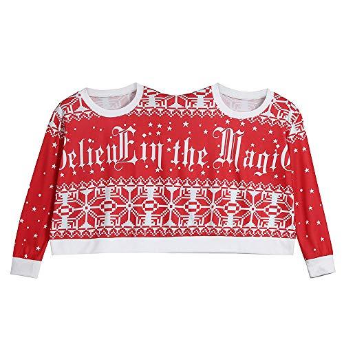 Jiameng tuta pullover manica lunga con stampa natalizia per uomo e donna camicia top da uomo in blusa di natale con pullover a due pezzi (rosso,l)