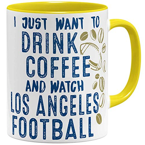 OM3® - Los-Angeles-Coffee - Tasse | Keramik Becher | American Football Mug | 11oz 325ml | Beidseitig Bedruckt | Gelb - Angeles-becher Los