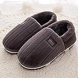 YSFU Hausschuhe Frauen Hausschuhe Schöne Weiche Flache Indoor Schuhe Liebhaber Winter Rutschfeste Warme Hausschuhe Männer, 11