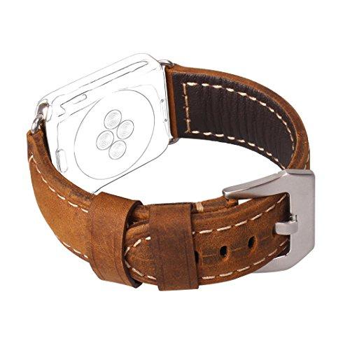 Preisvergleich Produktbild Armband für Apple Watch 38MM, MeiC Power Vintage Lederarmband Replacement Leder Ersatz Uhrenarmband mit Klassischer Edelstahl Metall Schließe für Apple Watch Series 1/Series 2/Sport/Edition