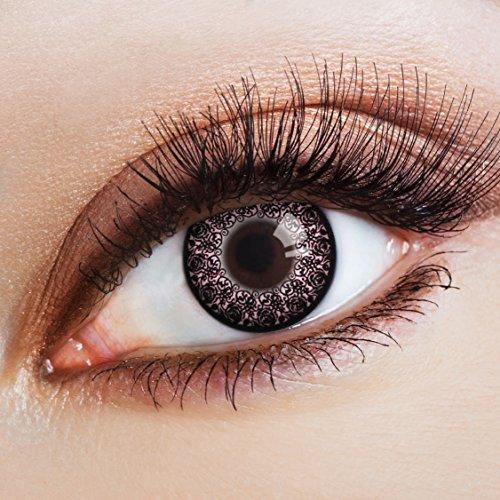 aricona Farblinsen Manga & Anime Kontaktlinse Ornaments in lila -Deckende,farbige Jahreslinsen für dunkle und helle Augenfarben ohne Stärke,Farblinsen für Cosplay,Karneval,Fasching,Halloween Kostüme