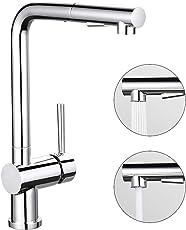 Desfau Ausziehbar Küchenarmatur Wasserhahn Armatur Küche mit Brause Mischbatterie Spültischarmatur Einhandhebelmischer Wasserkran für Küche