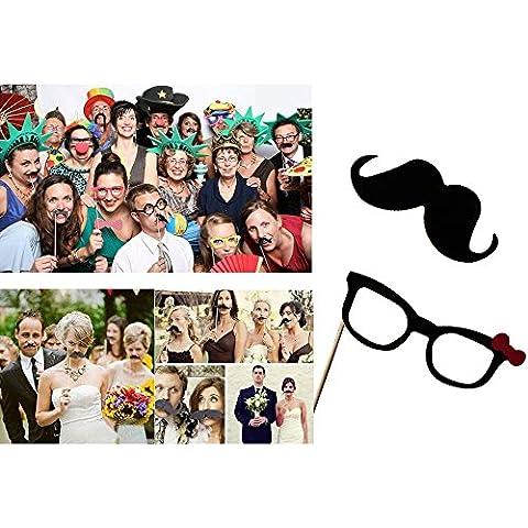 ZOGIN Kit de Accesorios Photocalls Máscaras Disfrazadas de Mascarada con Bigotes, Labios, Corbatas, Gafas y Sombreros Para Fiesta Mascarada, Fiesta de Navidad, Bodas, Aniversarios, Cumpleaños - 58