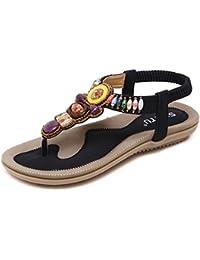 Zonlin Frauen Runde Peep Toe Perlen Bohemian Flachen Sandalen Sommer Flip-Flop Schuhe G6Z9WVamb