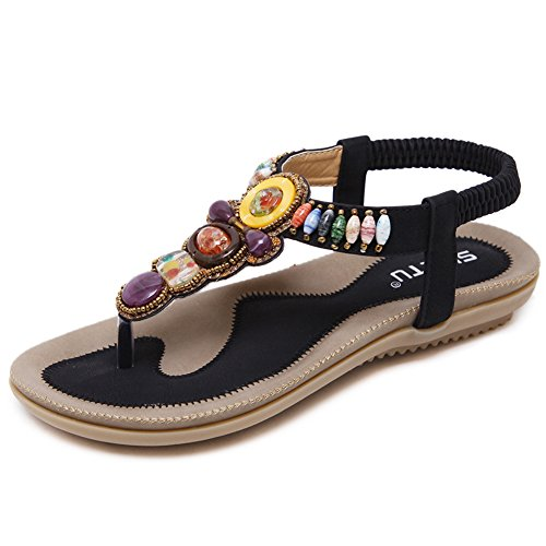 Woky Damen Sommer Sandalen Perlen Strand Zehentrenner Clip Toe Flip Flops Flach Bohemia Schuhe Größe 34-44 Damen-clip