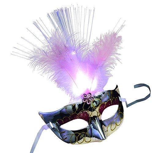 Foroner Frauen Venezianische LED Fiber Maske Maskerade Kostüm Party Prinzessin Feder Masken - Venezianischen Karneval Prinzessin Kostüm