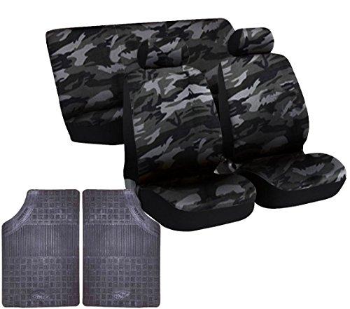 Coprisedili universali per auto con coppia anteriore di tappetini in gomma tagliabili con grip e inodore - Per utilitaria o berlina (Mimetico Chiaro, Utilitaria)