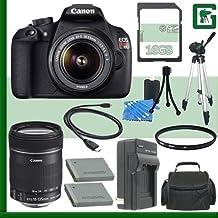 Canon EOS Rebel T5Kit de cámara réflex digital w/18–55mm IS II lente y Canon 18–135mm lente + 16GB verde de la cámara paquete 1