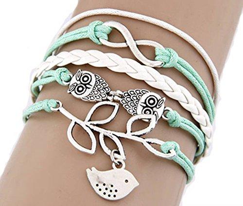 Dansuet Green Owl Infinity colomba della pace ciondoli bracciali Sovrapposizione, bracciali Multi-Layered per gli uomini - Owl Pace