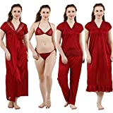 Romaisa Women's Satin Nightwear Set of 6 Pcs Nighty, Wrap Gown, Top, Capri, Bra & Thong