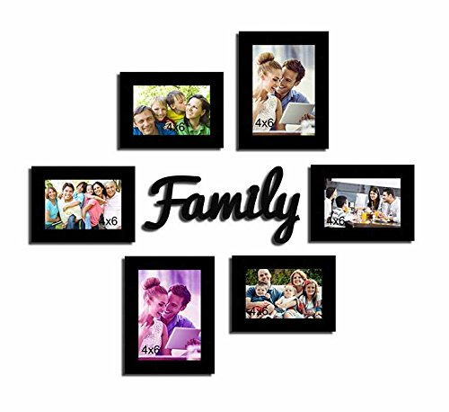 Painting Mantra Family MDF Plaque Wall Photo Frame Set (Set of 7),Black