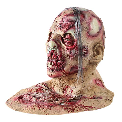 Geister Kostüm Holloween - SilenceID Halloween Horror Maske Scary Walking Dead Bloody Mask Party Halloween Requisiten Latex Kopf Maske Kopfbedeckung für Männer