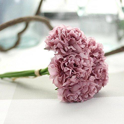 ZTTLOL Pfingstrose Künstliche Fowers Brautstrauß Hochzeit Bouquets Silk Blume Für Home Party Hochzeit Garten Dekoration 5 Stücke/Bündel, Lila