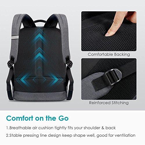 REYLEO Zaino per PC, Laptop Portatile Backpack con Porta USB Casual Impermeabile Unisex per La Scuola e Il Lavoro Fino a 26L (Grigio) - 4