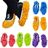 DIKETE® 10pcs (5 Pairs) Mop Slippers Shoes Cover Easy for Floor Dust Dirt Hair Bathroom Office Kitchen House Polishing Dusting Cleaning, Soft Washable Foot Socks, Chenille Fibre 9.4 * 4.7 Inch