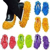 10 pezzi (5 paia) mop pantofole scarpe di facile per pavimento polvere sporcizia capelli bagno ufficio cucina casa lucidatura spolverare pulizia, calzini piede morbido Lavabile, fibra di ciniglia 23,9 x 11,9 cm