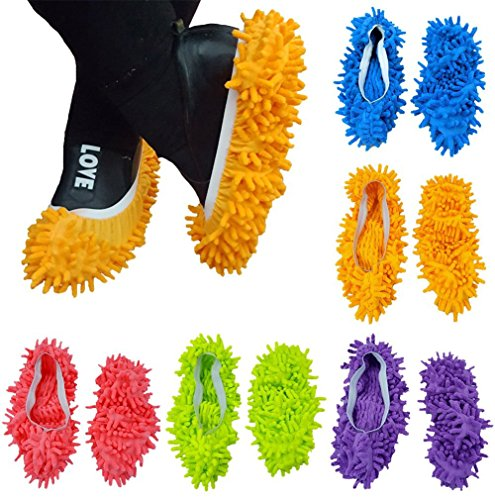 5 Paare Staubmopp Wischmop Bodenreiniger Hausschuhe Schuhreinigung Komfortable waschbar,DIKETE Polieren Staubwischen reinigen Fuß Socken Schuhe Mop Hausschuhe Multifunktion in 5 Farben