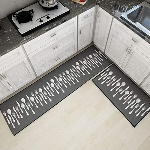 Levoberg 2 Pièces Tapis de Cuisine Devant Evier Antidérapant Tapis Maison Lavable en Machine 40 * 60+40 * 160cm #1