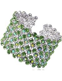 Alilang Wide Stretch Statement Open Cuff Bracelet Aurora Borealis Crystal Clear Rhinestone CcSFtAX