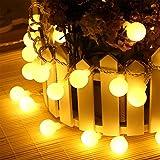 LEEHUR Luci Esterne a Corda, 3 Modalità di illuminazione Sfera Dimmerabile, Fiamma Stellata Alimentata a Batterie Luci a Corda per Giardino, Albero di Natale, Feste (Luce Calda)
