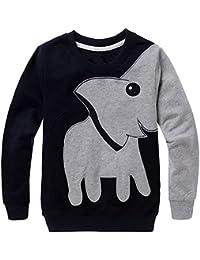 Juleya Jersey de Punto Jersey para niñas Niños de Manga Larga con Estampado de Elefantes Sudadera Warm Jumper Pullover Otoño e Invierno Sudadera Camiseta Top Trajes para 1-5 años Verde/Negro