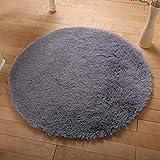 Omkuwl Suave Shaggy Area Alfombra redonda Salón Alfombra Dormitorio Alfombra del piso Alfombra Gris y 0.4m