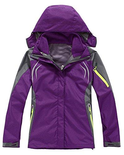 3 In 1 Funktionsjacke Damen Gefütterte Softshelljacke Wasserdicht Outdoor Winter Jacke Violett M