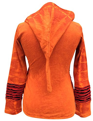 SHOPOHOLIC FASHION Festival Ethinc Look Damen Hippie-Rippen Hoodie Orange