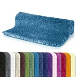 Spirella Badteppich Badematte Duschvorleger Mikrofaser Hochflor |Flauschig | Rutschhemmend | Geeignet für Fußbodenheizung | 55x65 cm | Blau